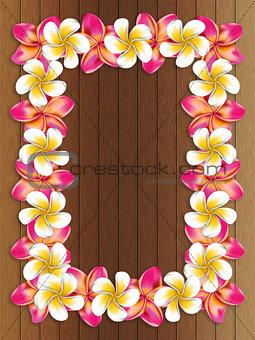 Frangipani frame on wood