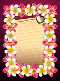 Plumeria flowers frame with paper