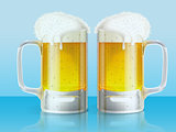 Two light beer mugs