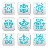 Snowflakes, winter blue decoration buttons set