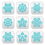 Snowflakes, winter blue decoration buttons set