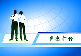 Business Couple on Internet Background with Nature Icons