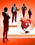 Business Team with Globe on Abstract Background