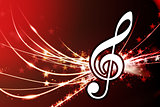 Musical Note on Abstract Light Background