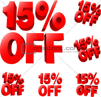 15% off Discount sale sign