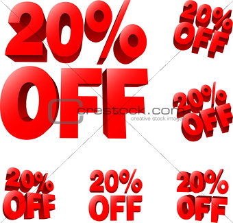 20% off Discount sale sign
