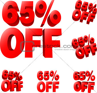 65% off Discount sale sign