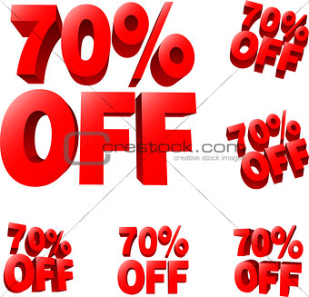 70% off Discount sale sign