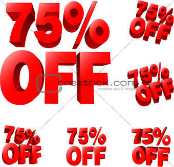 75% off Discount sale sign