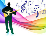 Guitar Player on Musical Note Color Spectrum