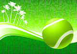 Tennis Ball on Abstract Tropical Background