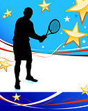 Tennis Player on Abstract Patriotic Background