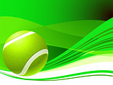 Tennis Ball on Green Abstract Background