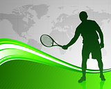 Tennis Player on Green Abstract Background with World Map