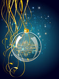 Christmas blue ball decoration with gold
