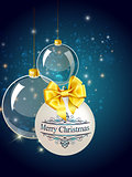 Christmas blue balls decoration with gold
