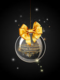 Christmas black ball decoration with gold and ribbon