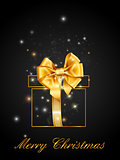 Christmas black gift decoration with gold ribbon