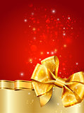 Christmas red decoration with gold ribbon