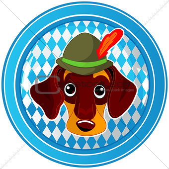 Oktoberfest circle dog button