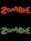 3d orange pink green zombie word on black