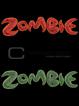 3d orange pink green zombie word on black