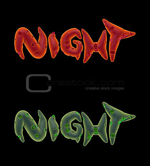 3d orange green pink creepy night word on black