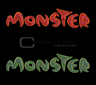 3d green pink orange monster word on black