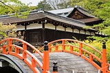Orange arched bridge of Jshimogamo-jinja