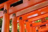 Otorii partial close-up of otorii in Fushimi Inari Taisha Shrine