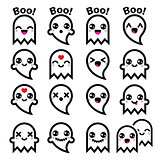 Kawaii cute ghost for Halloween icons set