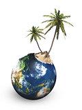 tropical island on the globus