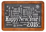 Happy New Year 2015 on blackboard