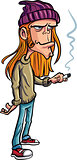 Cartoon loser with long hair smoking