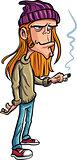 Cartoon loser with long hair smoking