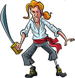 Cartoon pirate mate swordsman