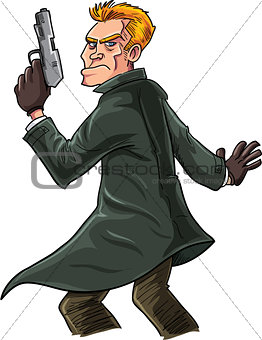 Cartoon spy with a gun looking over his shoulder