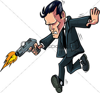 Cartoon spy running with his gun