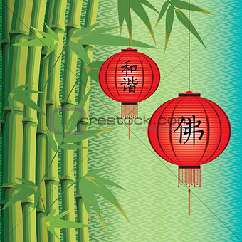 background with bamboo and Chinese lanterns
