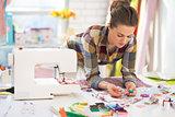 Portrait of needlewoman at work