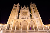 Leon cathedral at night, Leon, Spain.