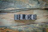 blog word in metal type