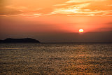 Sunset time in Ibiza, Mediterranean sea.