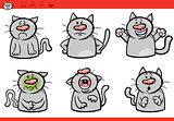 cat emotions cartoon illustration set