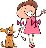 cute girl with dog cartoon illustration