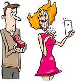 woman doing proposal selfie cartoon