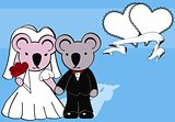 koala married cartoon background