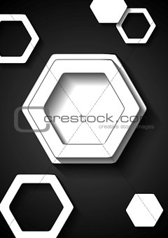 Abstract black and white tech background