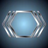 Abstract metallic hexagon shape