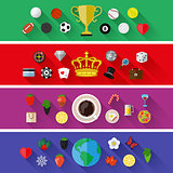 Set of nature, sports, food and drinks concepts. Flat design. Vector illustration.